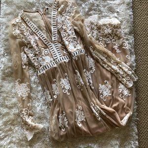 Nude & White Lace Long Sleeve Boho Dress